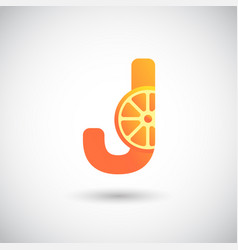 letter j with fruit logo concept creative and vector image