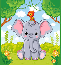 little cute elephant sits in a clearing in the vector image