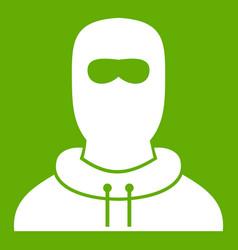 man in balaclava icon green vector image