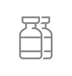Medical ampoules line icon vaccination vaccine vector
