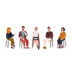 men and women sitting on chairs and talking vector image