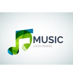 Music note icon logo made of color pieces vector