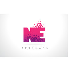 Ne n e letter logo with pink purple color and vector