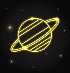 Neon planet saturn icon in thin line style vector