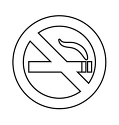 No smoke area line icon outline sign vector