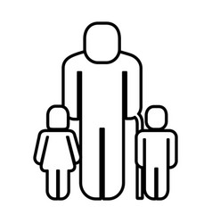 Old man with children figure silhouette vector