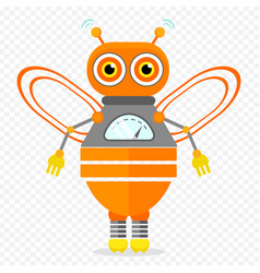 Orange friendly cartoon bee robot character vector