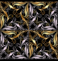 ornamental vintage 3d seamless pattern black vector image
