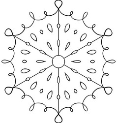 Outline circular snowflake ornament coloring page vector