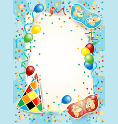 Party background with carnival masks balloons and vector