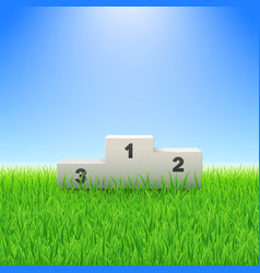 Pedestal with numbers on green grass soccer vector