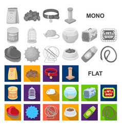 Pet shop flat icons in set collection for design vector