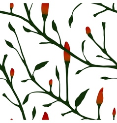 Red Chilli Pepper Plant Seamless Pattern vector image