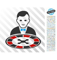 Roulette dealer flat icon with bonus vector