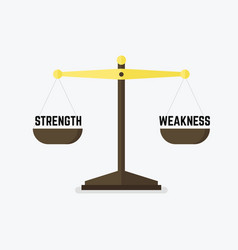 scales measuring strength versus weakness vector image