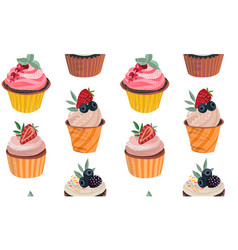 seamless pattern with delicious cupcakes vector image