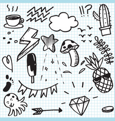 set cute doodle on paper background vector image