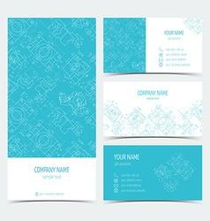 Set engineering business cards flyers leaflets vector
