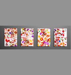 set of universal cards fluid art hand drawn vector image