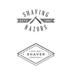 set of vintage barbershop labels templates for vector image