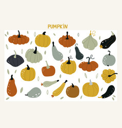 set with hand drawn colorful doodle pumpkins vector image