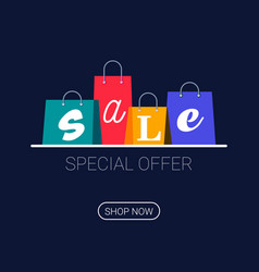 shopping bags with sale inscription online vector image