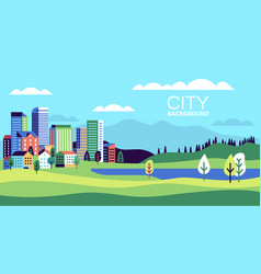 simple landscape with buildings urban skyline vector image