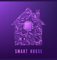 smart home or iot concept purple circuit house vector image