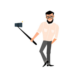 smiling male with a beard hipster take photos vector image
