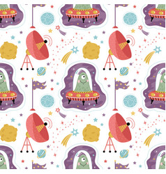Space aliens cartoon seamless pattern vector