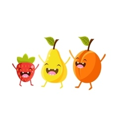 Strawberry Pear And Plum Cartoon Friends vector