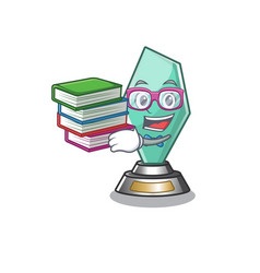 Student with book acrylic trophy stored in cartoon vector