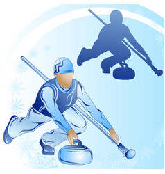 stylized figure of a curler on a blue background vector image