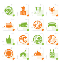 stylized restaurant food and drink icons vector image