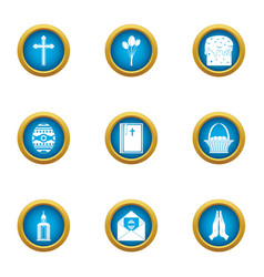 supplication icons set flat style vector image