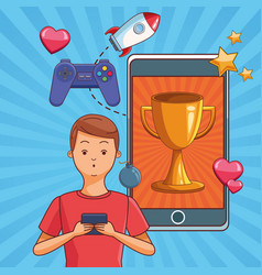 Teenagers and smartphone games vector