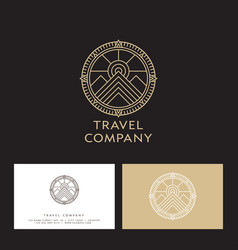 travel company logo mountains peaks sun vector image