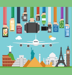 Travel composition with famous world modern flat d vector