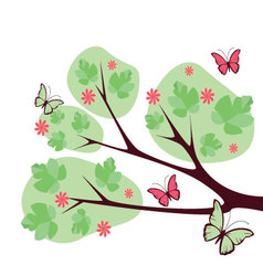 Tree-with-butterflies-and-flowers vector