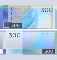 voucher template banknote 300 with guilloche vector image
