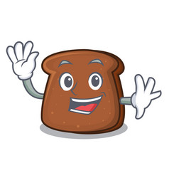 Waving brown bread character cartoon vector