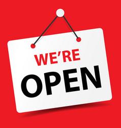 We are open business door signage for unlock vector