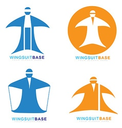 Wingsuit extreme sport base jumping icon vector image