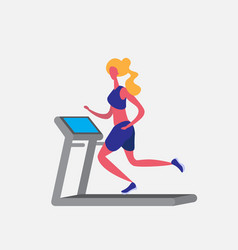 woman running treadmill cartoon character sport vector image