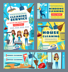 women cleaners with cleaning tools and detergents vector image
