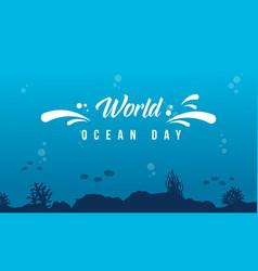 World ocean day background with underwater vector
