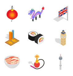 World play icons set isometric style vector