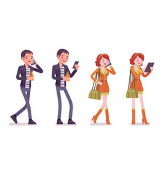 young man and woman with gadgets vector image