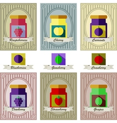 color set of different kinds of jams with inking vector image
