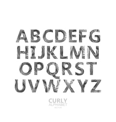 Curly textured alphabet vector image